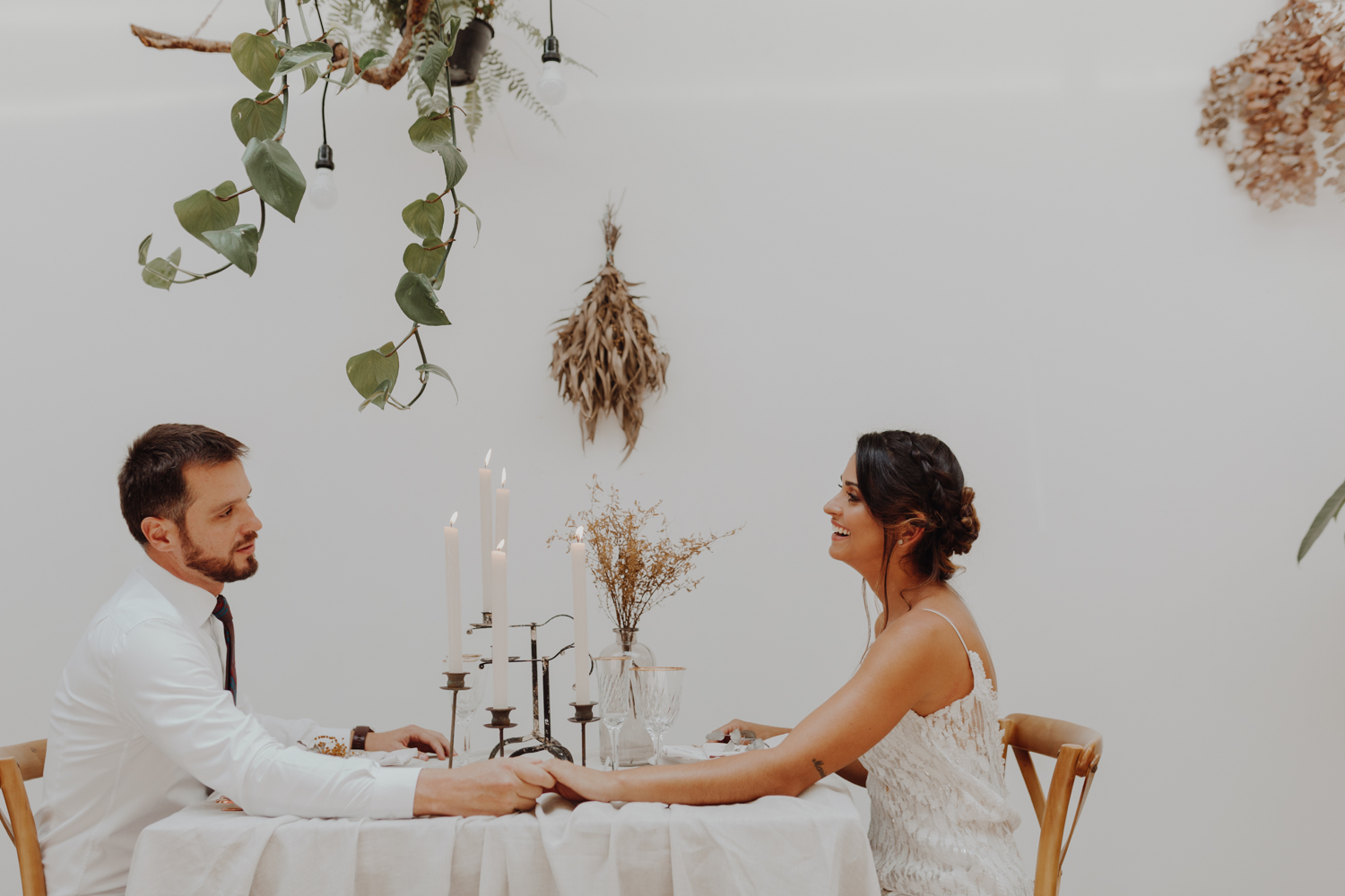 Bride and Groom have dinner