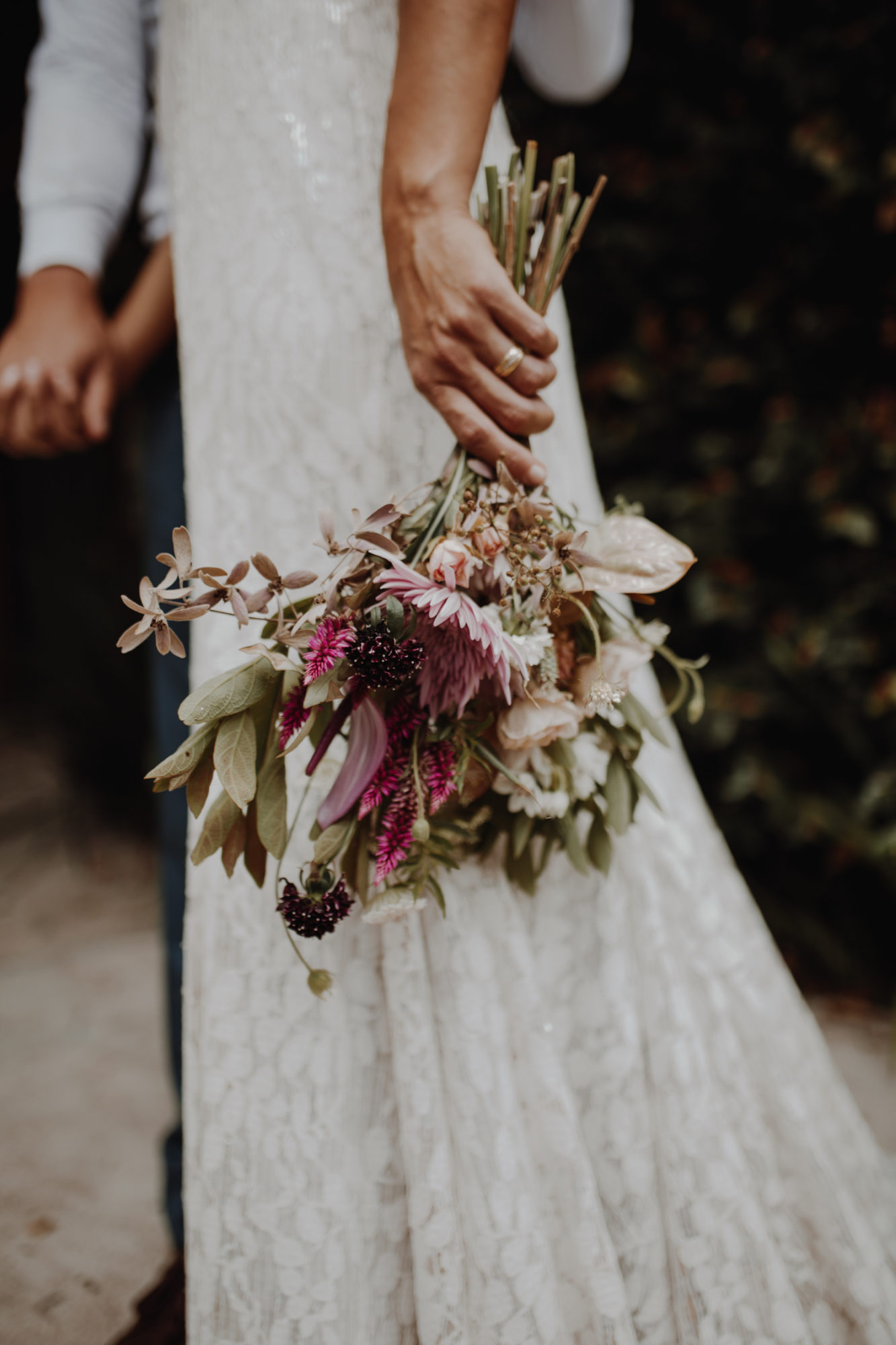 The bride holding the bouquet