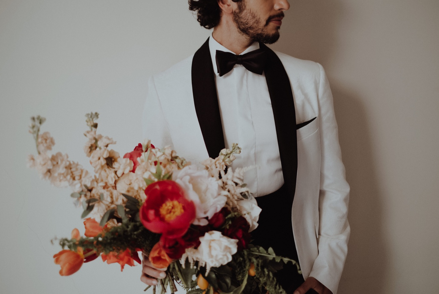 the groom and the bouquet