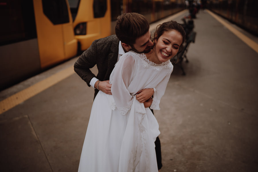 newlyweds laughing a lot